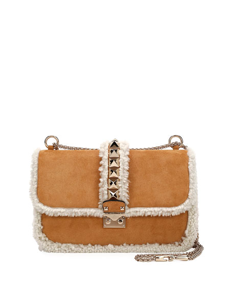Valentino Garavani Lock Medium Shearling-Trimmed Shoulder Bag