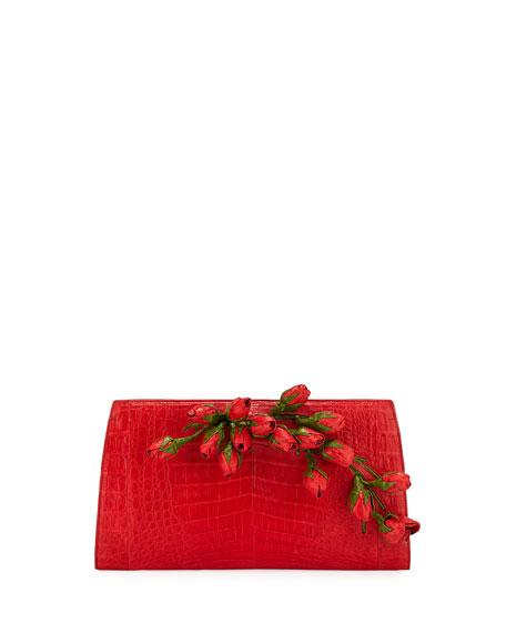 Rose Bud Slicer Crocodile Clutch Bag, Red