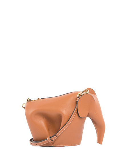 Leather Elephant Mini Bag, Beige