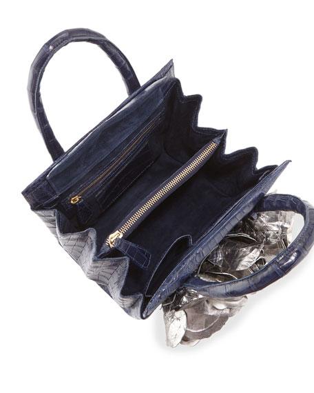 Rosebud Frame Crocodile Tote Bag