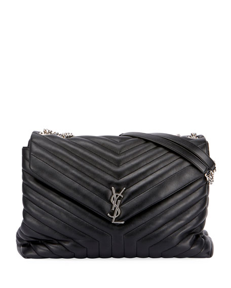 Saint Laurent Monogram Loulou Large Chain Bag, Black