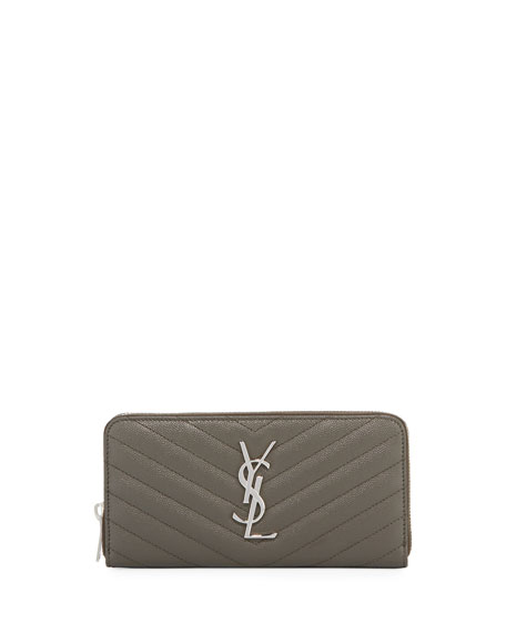 Saint Laurent Monogram YSL Quilted Leather Zip-Around Wallet