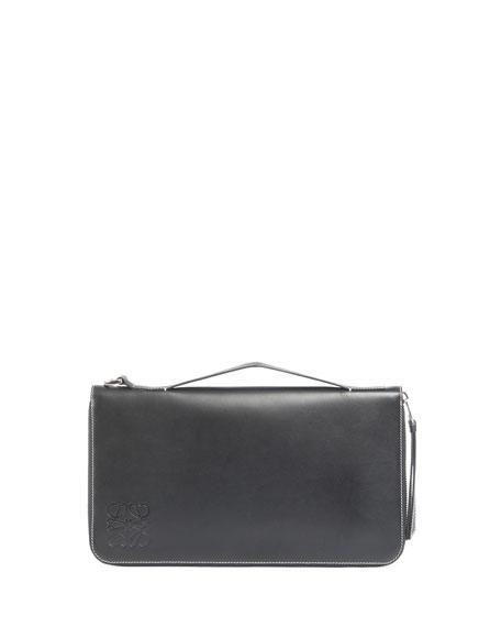 Oversized Zip-Around Leather Wallet, Black