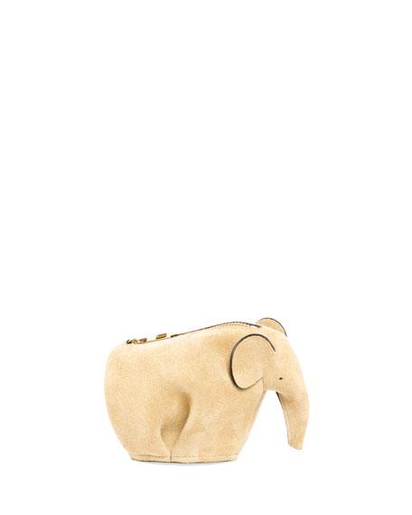Loewe Suede Elephant Coin Purse, Hazelnut