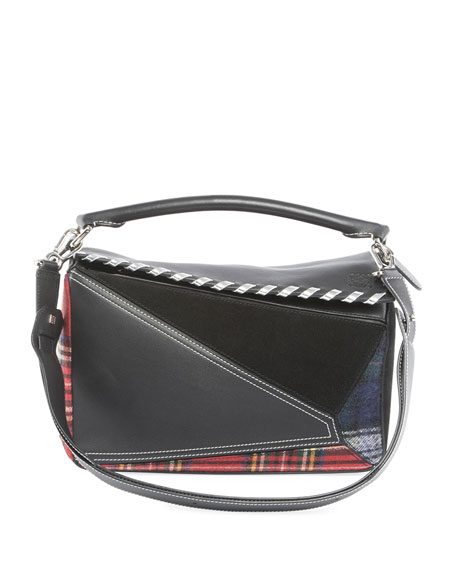 Puzzle Tartan Leather Satchel Bag, Black