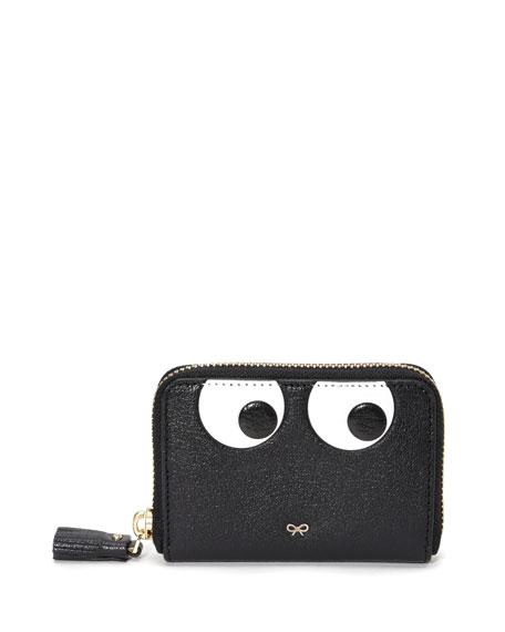 Small Zip-Around Eyes Wallet, Black
