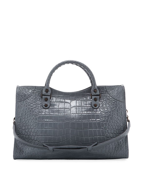 Croc-Embossed Brass City Tote Bag