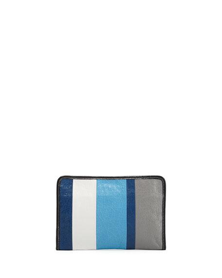 Bazar Striped Leather Mini Pouch