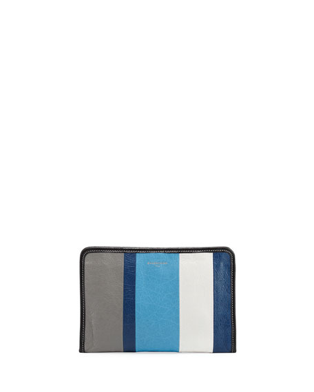 Balenciaga Bazar Striped Leather Mini Pouch
