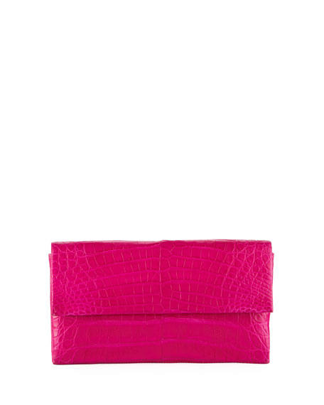 Simple Flap Crocodile Clutch Bag, Pink