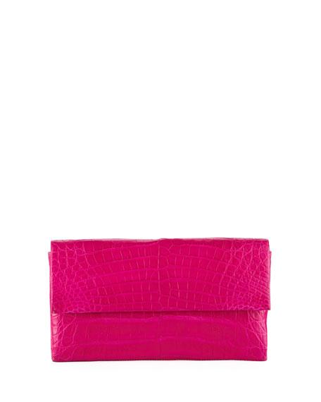 Simple Flap Crocodile Clutch Bag, Pink
