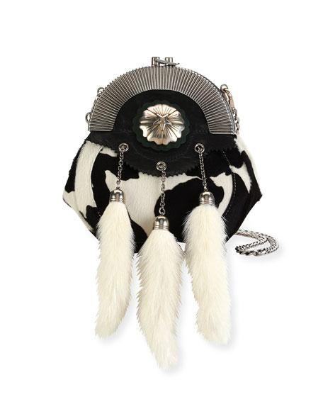 Calf Hair Clutch Bag with Rabbit Fur Charms