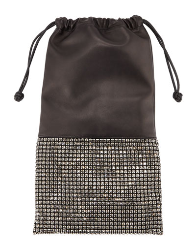 Ryan Crystal-Studded Drawstring Pouch Bag