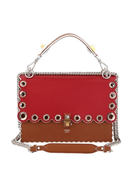 Fendi Kan I Leather Shoulder Bag with Snakeskin