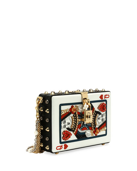 Queen Of Hearts Box Clutch Bag Black Red