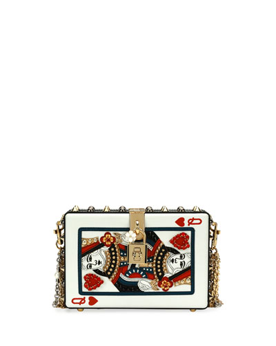 Queen of Hearts Box Clutch Bag, Black/Red