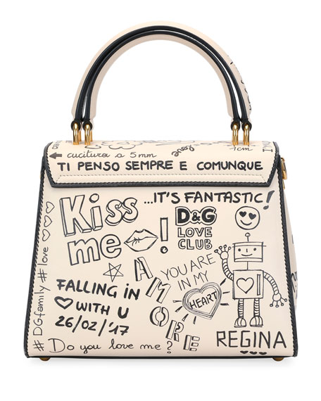 Welcome Amore Graffiti Medium Handbag, Beige