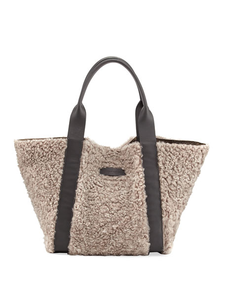 Shearling-Lined Metallic Leather Tote Bag