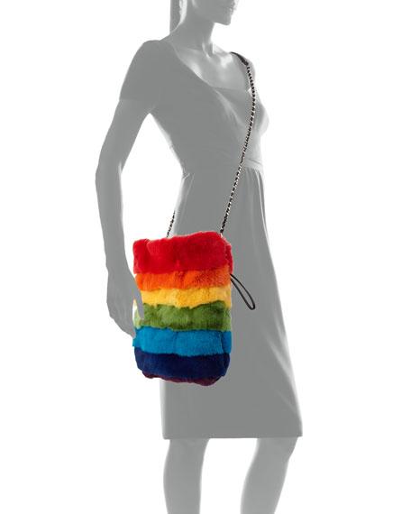 Trilly Rainbow Fur Bucket Bag