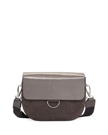 Brunello Cucinelli Metallic Leather/Nubuck Crossbody Bag