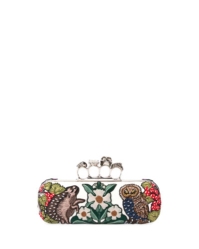 Woodland Embroidered Knuckle Box Clutch Bag
