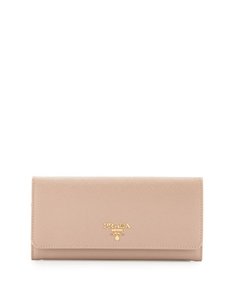 Saffiano Leather Continental Wallet, Beige (Cammeo)