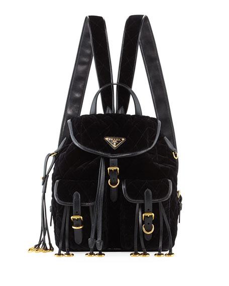 PRADA Leather-Trimmed Quilted-Velvet Backpack, Black