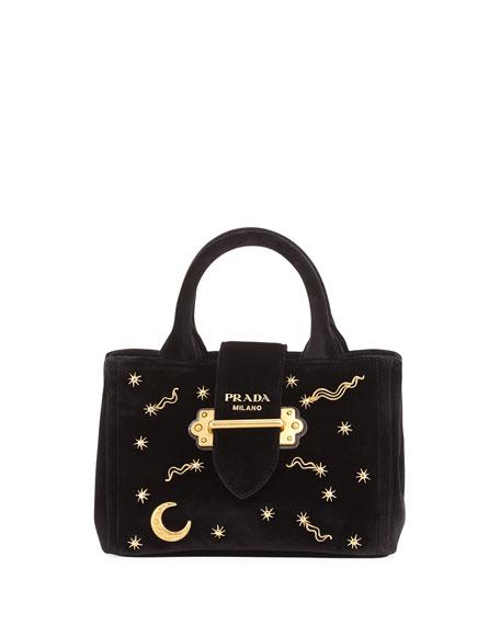 Cross Body Bags - Embroidered Velvet Bag Black - red, yellow, green, black - Cross Body Bags for ladies Prada