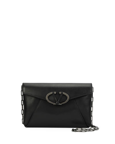 V Rivet Leather Chain Clutch Bag, Black