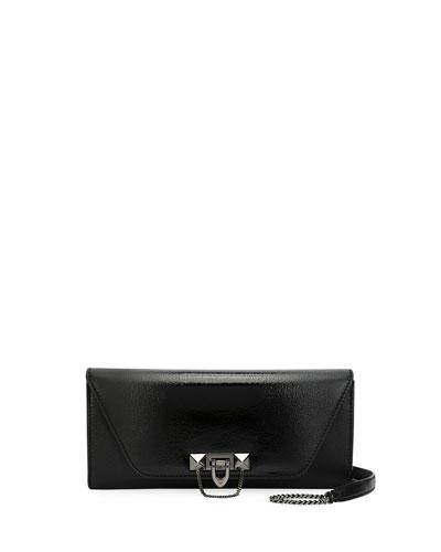 Demilune Clutch Bag with Strap, Black