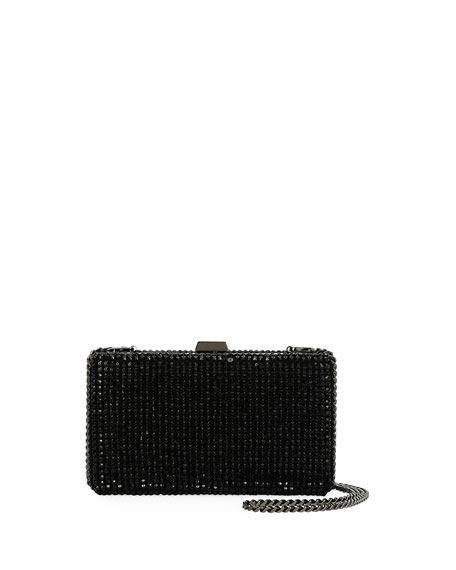 Secrets Studded Minaudiere with Chain, Black