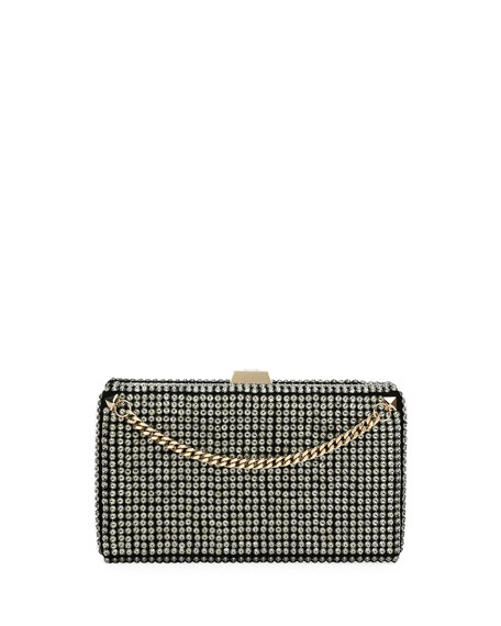 Secrets Studded Minaudiere with Chain, Black Metallic