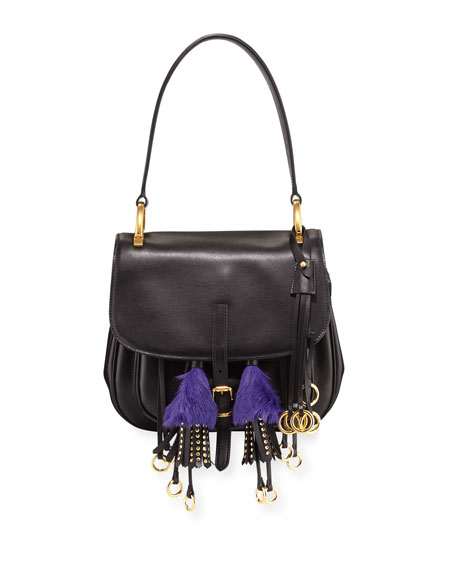 da082fa2f7f ... clearance prada corsaire calf leather fringe shoulder bag e4af8 34bce