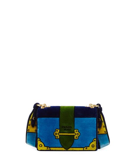 Prada Cahier Trompe l'Oeil Velvet Shoulder Bag