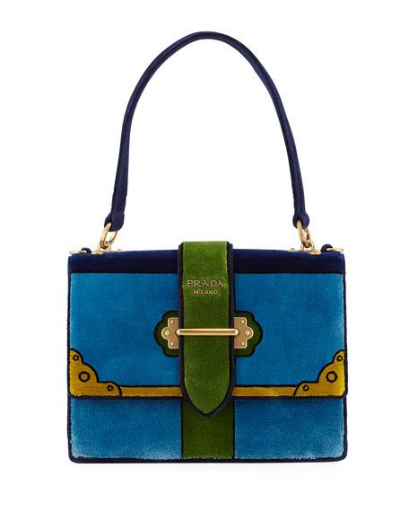 9c4f294aaab4 Prada Trompe L'oeil Velvet Cahier Buckle Bag