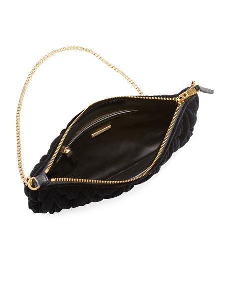 Club Collection Velvet Matelasse Pochette Clutch Bag