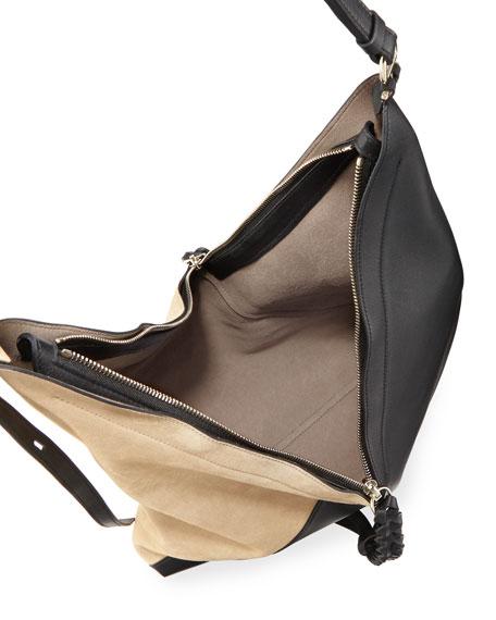 Large Patchwork Leather & Suede Shoulder Bag