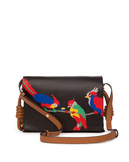 Flamenco Flap Parrots Shoulder Bag, Black