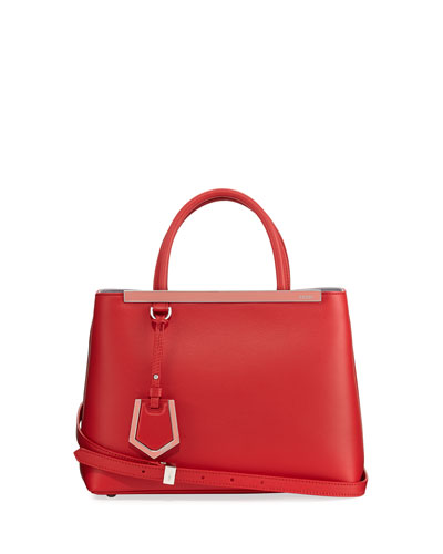 2Jours Two-Tone Leather Satchel Bag