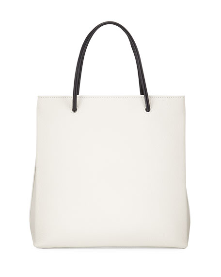 Grained Leather Shopping Tote Bag