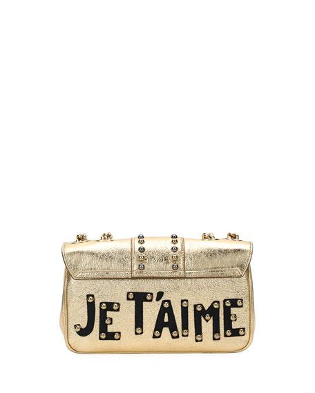 Lucia Dolce Embellished Metallic Leather Shoulder Bag