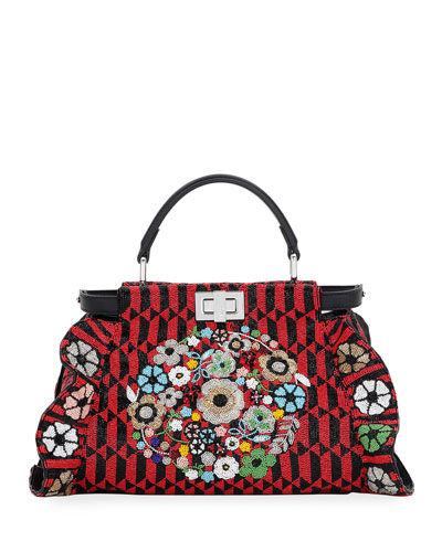 Peekaboo Mini Floral Beaded Satchel Bag