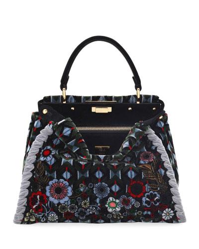 Peekaboo Floral Velvet Satchel Bag