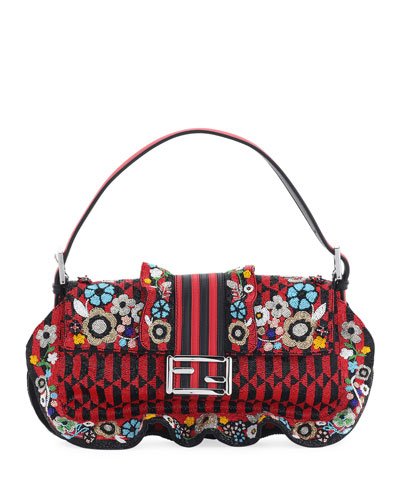 Baguette Floral Beaded Shoulder Bag
