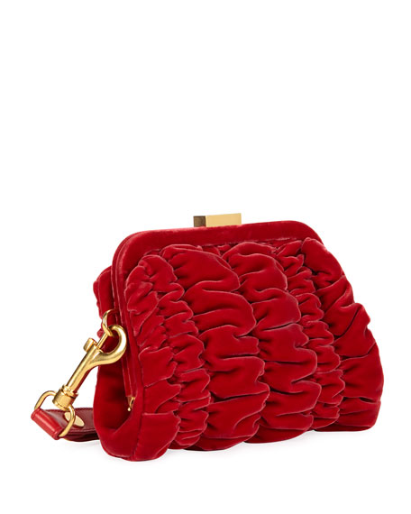 Quilted Velvet Clutch Bag with Wristlet, Red