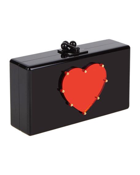 Jean Studded Heart Acrylic Clutch Bag