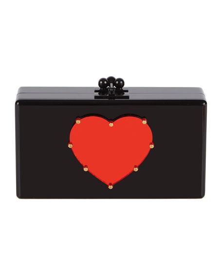 Edie Parker Jean Studded Heart Acrylic Clutch Bag
