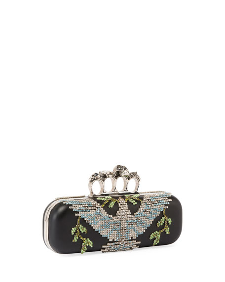 Crystal Dove Knuckle Box Clutch Bag