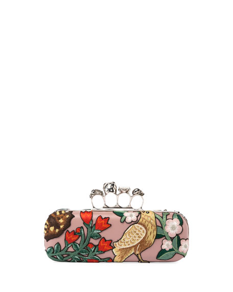 Woodland Fox Embroidered Knuckle Box Clutch Bag
