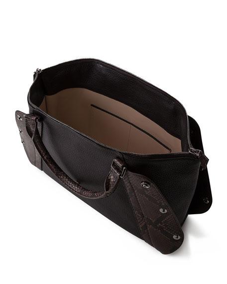 Aimee Small Bicolor Leather/Python Satchel Bag